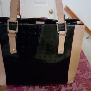 Black Arcadia Genuine Patent Leather Tote